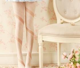 White Irregular Ribbon Style Spliced Pantyhose Tights
