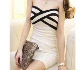 Black White Stripe BodyCon Strapless Dress