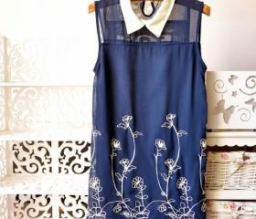 2013 Vintage Chiffon embroidery Sleeveless vest tank tops Dress