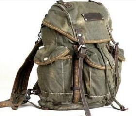 Mens Vintage Canvas Hiking Travel Military Backpacks Messenger Bag tote