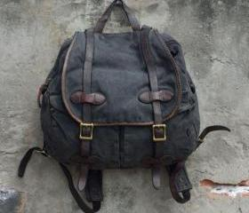 Vintage Washed Canvas Backpack Messenger shoulders Bag leather Men women