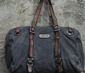 Women Mens Vintage Washed Canvas Shoulder bag Leather bag