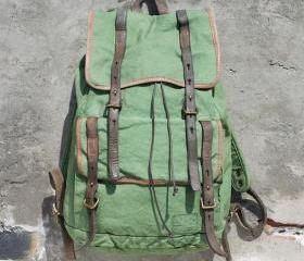 Vintage Top Leather Washed Canvas Backpack Army Green Shoulders bag Satchel