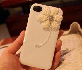 Pearl Daisy cute iPhone 4 Case,Cute iphone 4 Case, floral iphone 4 case, rhinestone iphone 4 case