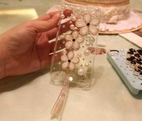 iPhone 4 Case, iPhone Case, sakura floral iphone 4 Case Crystal iphone 4 Case, tassels iPhone 4 Case Rhinestone