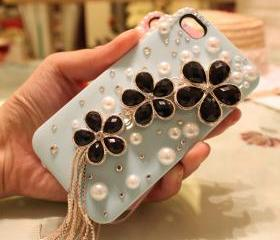 Blue iPhone 4 Case, iPhone Case, sakura floral iphone 4 Case Crystal iphone 4 Case, tassels iPhone 4 Case Rhinestone