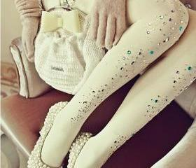 White Bling Stripe Style Tights