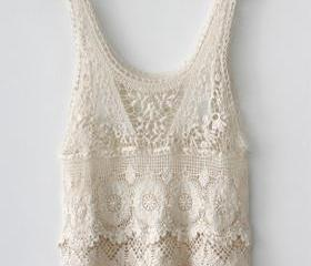 Cute White Crochet Lace Vest