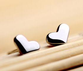Tiny Heart Sterling Silver Stud Earrings