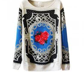 Vintage Floral Pattern Sweater