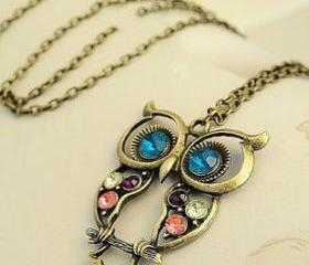 Vintage Owl Necklace,own jewelry long necklace