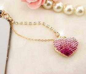 Pink Crystal Heart iPhone anti dust plug, iPhone dust Charm