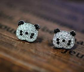 Cute Bling Panda Stud Earrings