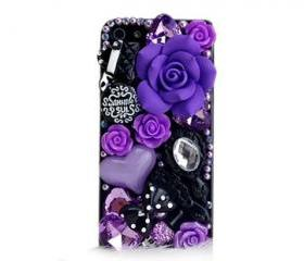 Purple Style handmade 3D iPhone 4 Case, Bling iPhone 4 Case