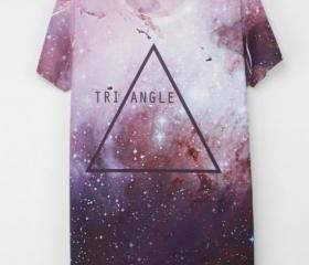 Triangle Space Galaxy Print T-shirt