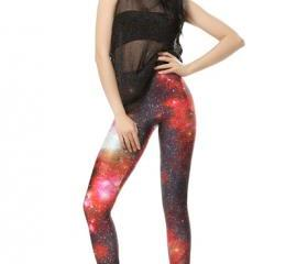 Red Flame Galaxy Leggings Pants