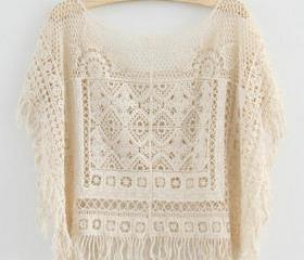 Cute Japanese Style Crochet Lace Shirt Tops