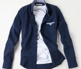 2013 Spring Men's Dark Blue Casual long sleeve Shirt