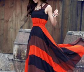 Summer Spliced Long Sleeveless Maxi Dress
