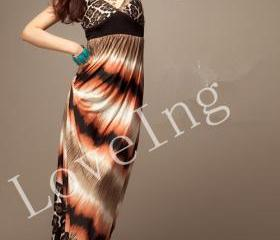 Bohemia Style Leopard Pattern Long Maxi Dress