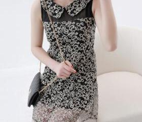 summer sleeveless slim waist lace embroidered bronzier one-piece dress
