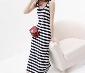 women's o-neck sleeveless stripe Tank dress 