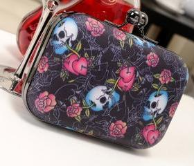 Mini Skull Flower Print PU Clutch handbag