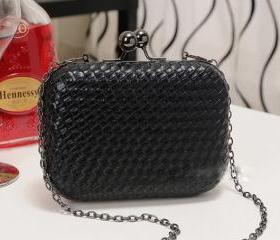 Black Mini Woven Clutch Handbag