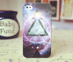Purple Triangle iPhone 4 Case Cloud Print Galaxy 