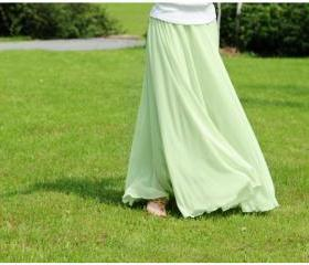 Mint Green Stylish Chiffon Long Maxi Skirt