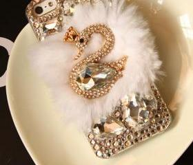 3D Bling Swan Fur iphone 4 case 