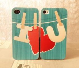 Cute couple iPhone 4 Case, i love you iphone 4 hard case,blue iphone 4 case,heart iPhone 4 case