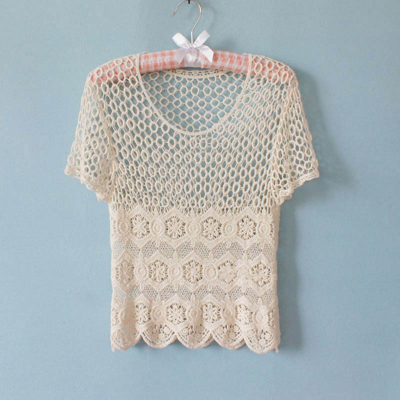 Japanese Style Crochet Lace Shortsleeved T-shirt on Luulla