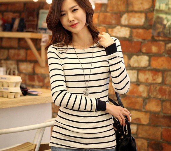 Lovely Womens Casual Long Sleeve Stripe T-shirt Tops Tee New
